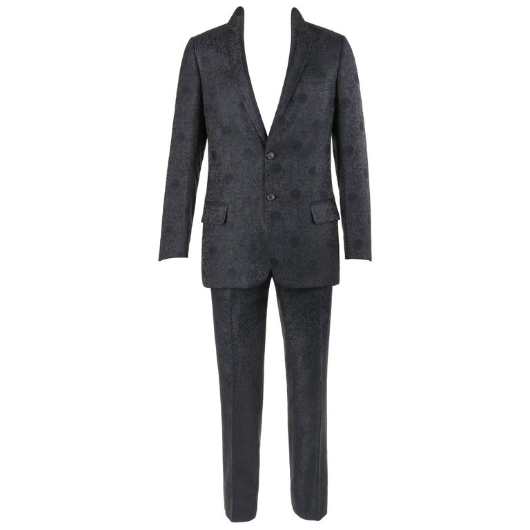 VALENTINO A/W 2005 2 Pc Black & Navy Blue Jacquard Silk Jacket Pant Suit Set
