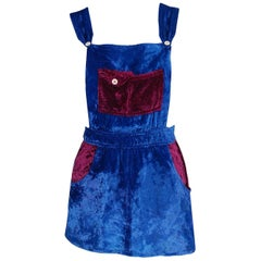 1970's Mr Freedom Blue & Purple Crushed Velvet Mod Mini Pinafore Skirt Dress