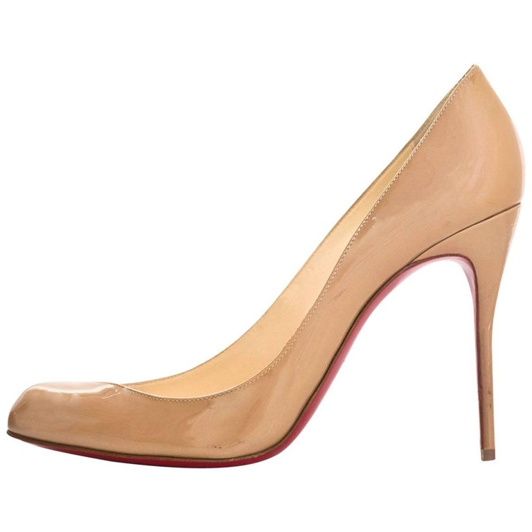 Christian Louboutin Nude Patent Leather Maudissima 100 Pumps Sz 39