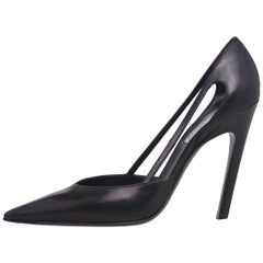 Balenciaga New Black Leather Cut Out Evening High Heels Pumps in Box