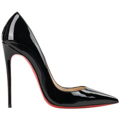 "CHRISTIAN LOUBOUTIN ""So Kate"" 120 mm Black Patent Leather Pointed Toe Pump Heels"