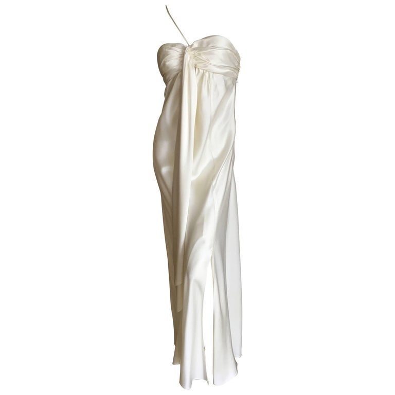 John Galliano 1990's Ivory Draped Goddess Gown
