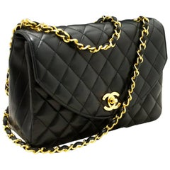 CHANEL Half Moon Chain Shoulder Bag Crossbody Black Quilted Flap