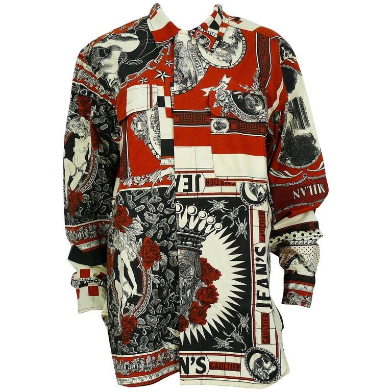 Jean Paul Gaultier Vintage Rockabilly Print Cotton Men's Shirt Size L