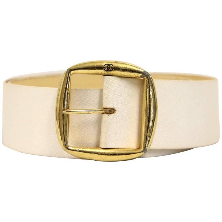1990s Chanel White Silk Belt