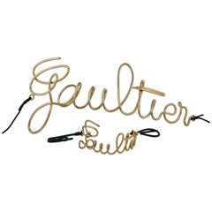 Jean Paul Gaultier Cursive Logo Copper Toned Belt and Bracelet Set