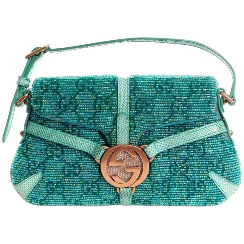 Gucci Rare Gucci Gg Monogram Beaded Crystal & Lizard Bamboo Chain Horsebit Bag Clutch HmrrVP