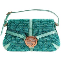 Gorgeous Gucci GG Monogram Crystals, Beaded Pearls & Lizard Skin Bag