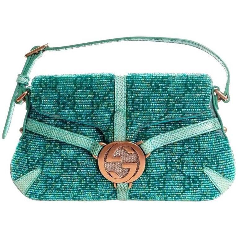 Gorgeous Gucci GG Monogram Crystals, Beaded Pearls & Lizard Skin Bag
