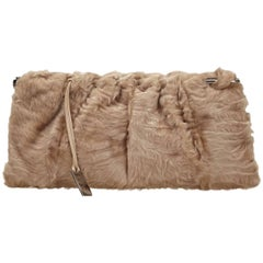 Rare Gucci by Tom Ford 1999 Nude Fur Clutch Bag Purse