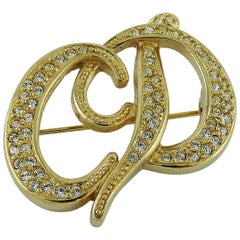 Christian Dior Vintage Jewelled Logo Brooch