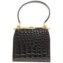 2000s Dotti Black Crocodile Leather Handbag