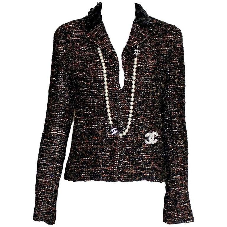 Amazing Chanel Metallic Tweed Sequin Trimmed Jacket Blazer