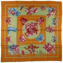 Hermès Paris Confidents des Coeurs 90 cm silk scarf Carré By Loic Dubigeon / NEW
