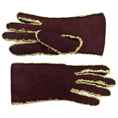 Chanel Brown & Green Gloves Sz 7.5