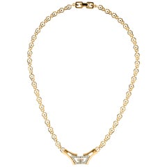 Givenchy Gold Chain GG Charm Pendant Crystal Choker Chain Evening Necklace