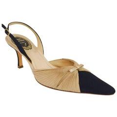 Romantic Rene Coavilla Beige & Black Sling Back Shoes
