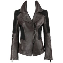 VERSACE A/W 2010 Brown Leather & Black Suede Two Tone Motorcycle Jacket