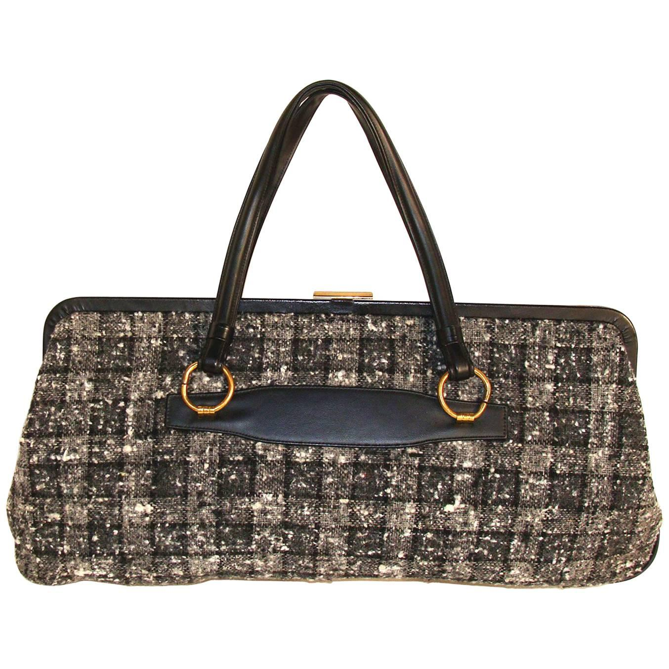1stdibs Rare Oversized Double Handle Tweed Plaid Bag In Black And Gray Fall 2eYqotWQ