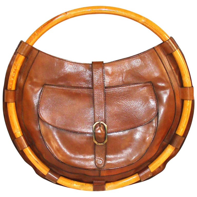 Large Circular Fall Architectural Bamboo and Leather Purse