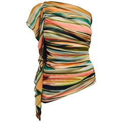 Marvelous Missoni One Shoulder Multicolor Striped Sexy Top