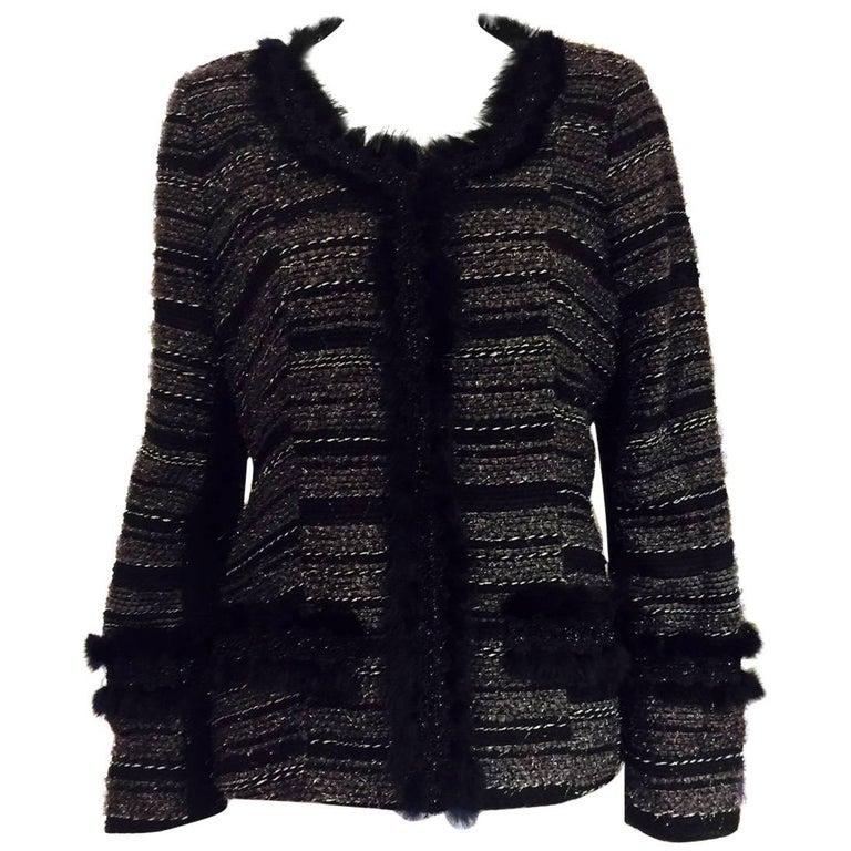 Neiman Marcus Black & Grey Boucle Jacket with Metallic Threads Overall