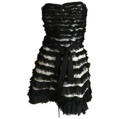 D&G Dolce & Gabbana Tiered Ruffle Strapless Cocktail Dress