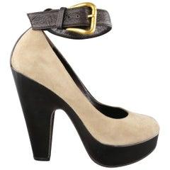 GIUSEPPE ZANOTTI Size 6 Grey Suede Thick Sole Ankle Strap Platform Pumps