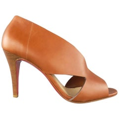 New CHRISTIAN LOUBOUTIN Size 9 Brown Leather Peep Toe Cutout Bootiess
