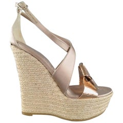 BURBERRY PRORSUM Size 9 Beige Silk Metallic Bow Espadrille Wedge Platforms