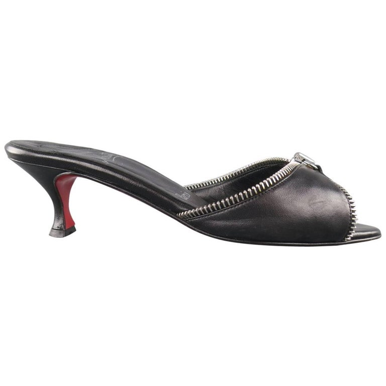 CHRISTIAN LOUBOUTIN Size 7.5 Black Leather Zipper Trim Kitten Heel ...