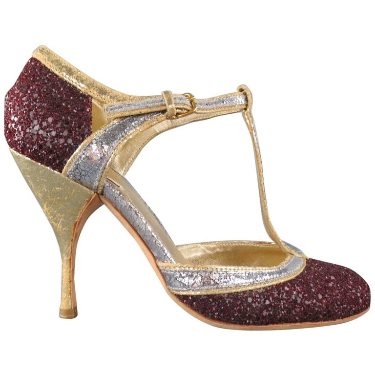 f1352c508f2 MIU MIU Size 6 Burgundy Silver and Gold Glitter T- Strap Pumps at ...