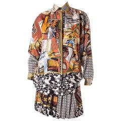 Gianni Versace Postcard Print Silk Shirt and Pleated Skirt