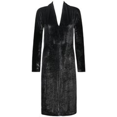 YVES SAINT LAURENT A/W 2000 YSL Black Lame Velvet Cocktail Evening Dress