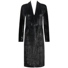 YVES SAINT LAURENT A/W 2000 YSL Black Lame Velvet Cocktail Evening Dress