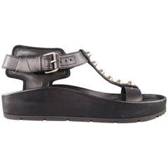 BALENCIAGA Size 7 Black Leather Studded T Strap Flat Sandals