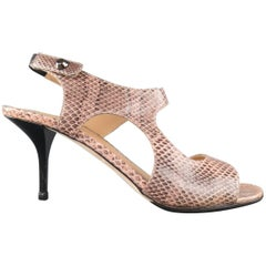 REED KRAKOFF Size 9.5 Pink Snake Skin Cut Out Sandals