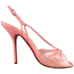 CHRISTIAN LOUBOUTIN Size 9 Pink Leather & PVC Bow BLADE RUNNER Sandals