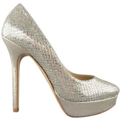 JIMMY CHOO Size 7.5 Silver Metallic Glitter Mesh Platform 'I DO' Pumps