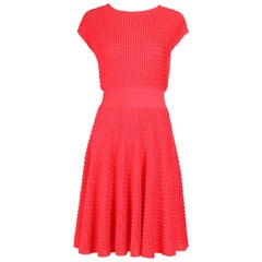 2013 Christian Dior by Raf Simons Neon Pink Textured Stretch Cocktail Day Dress