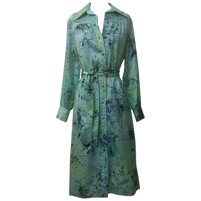 Lanvin 1960s Robin's Egg Blue Splatter Paint Belted Shirt Dress 1