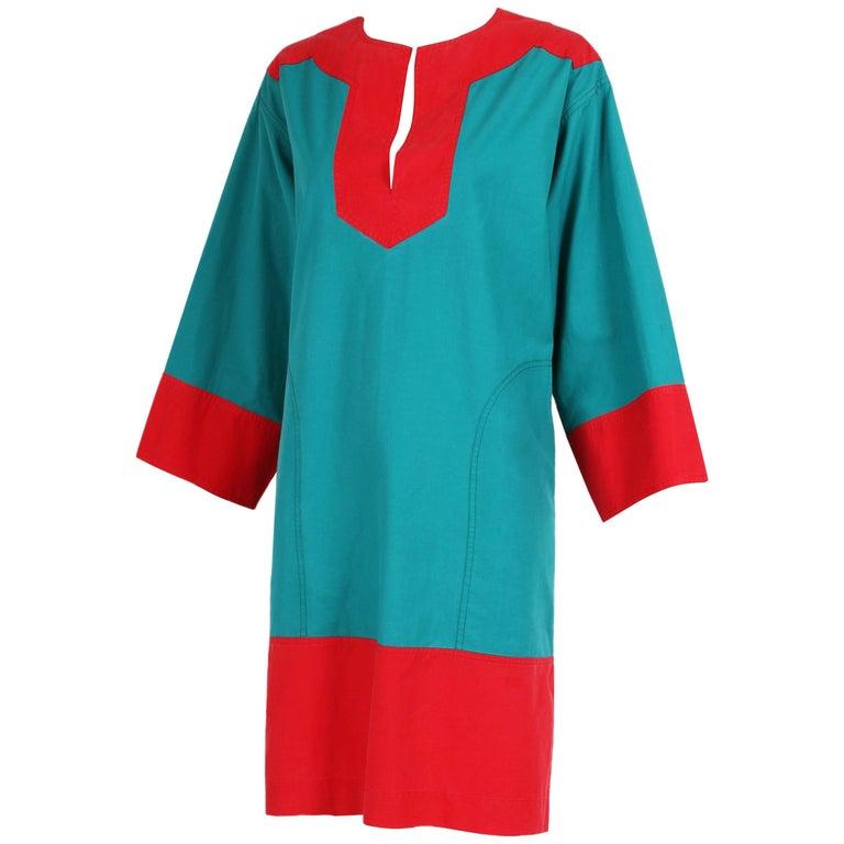 Vintage Yves Saint Laurent YSL Color Block Tunic Day Dress