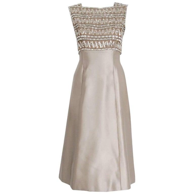 9bd99601 1967 Pierre Balmain Haute-Couture Beaded Lesage Satin Cocktail Dress  Ensemble For Sale