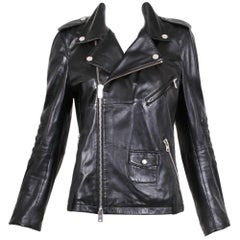 2011 Alexander McQueen McQ Black Leather Biker Motorcycle Jacket