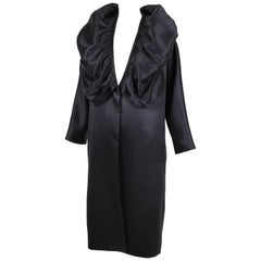 Dries Van Noten Black Opera Coat w/Deep V-Neck & Oversized Collar