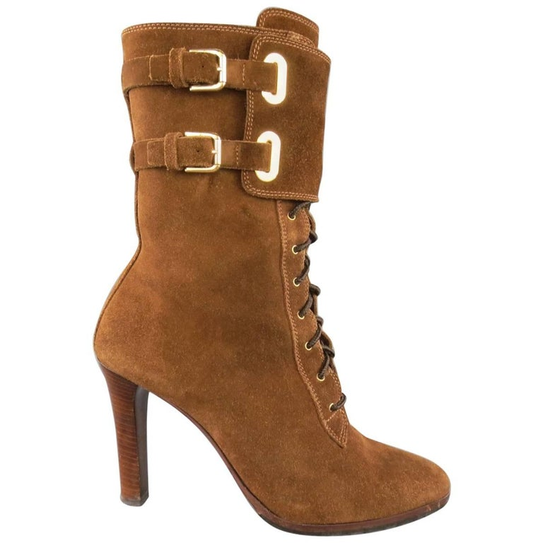 RALPH LAUREN COLLECTION Size 7.5 Brown Suede Lace Up Heeled Ankle Boots