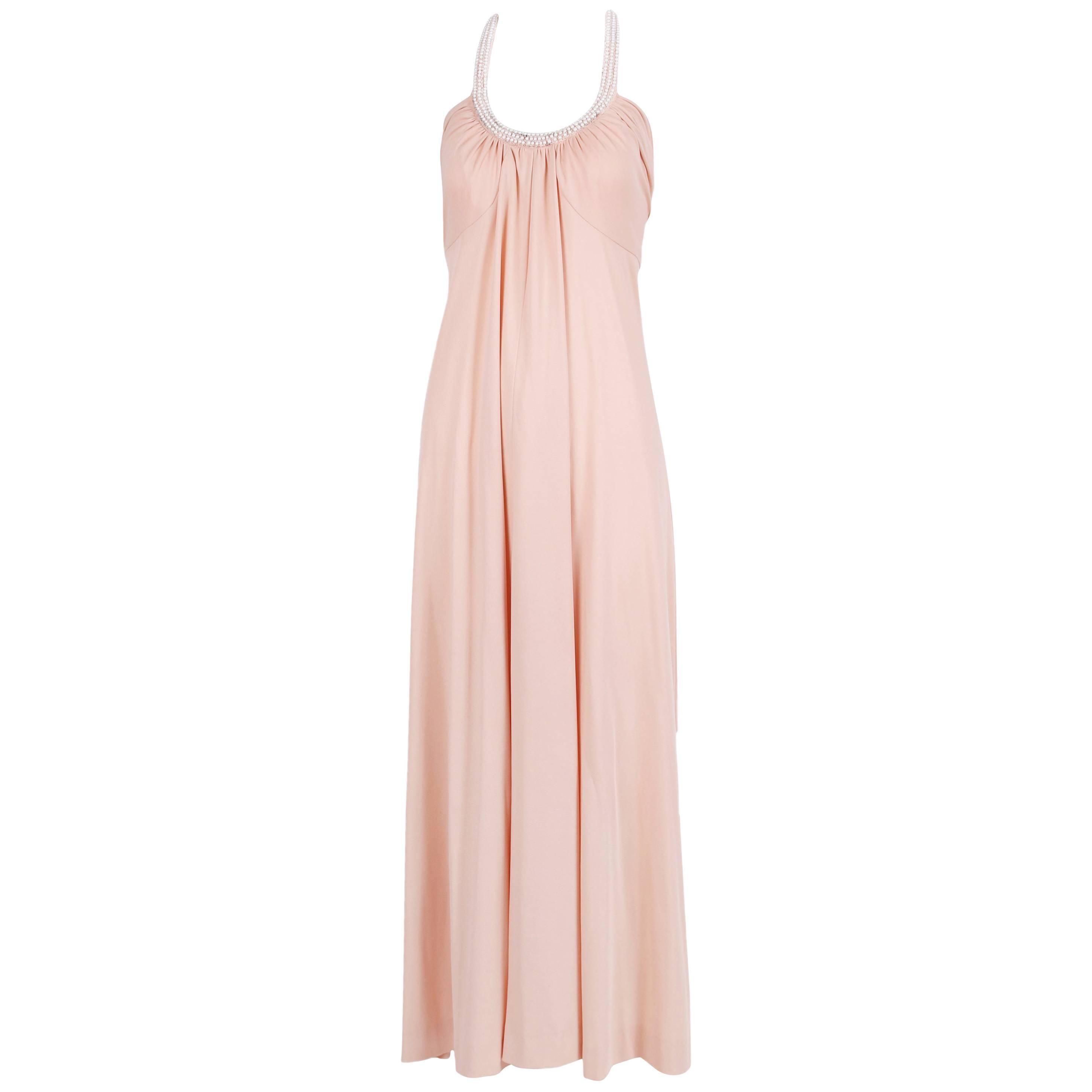 1970's Donald Brooks Blush Pink Jersey Disco Dress w/Pearl Embellished Halter