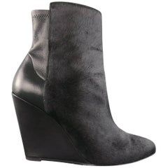 VINCE Size 8 Black Pony Hair & Leather Wedge LANIE Ankle Boots