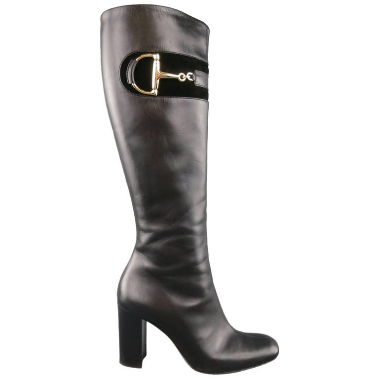 GUCCI Size 8 Black Leather Knee High Gold Horsebit Boots For Sale