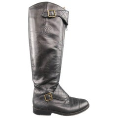 Vintage CHANEL Size 7 Black Quilted Strap Zip Up Riding Boots